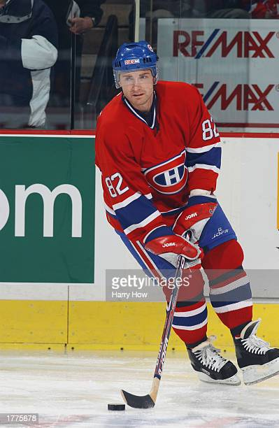 Donald Audette of the Montreal Canadiens skates in warmups during the game against the Ottawa Senators at the Corel Center on December 27 2002 in...