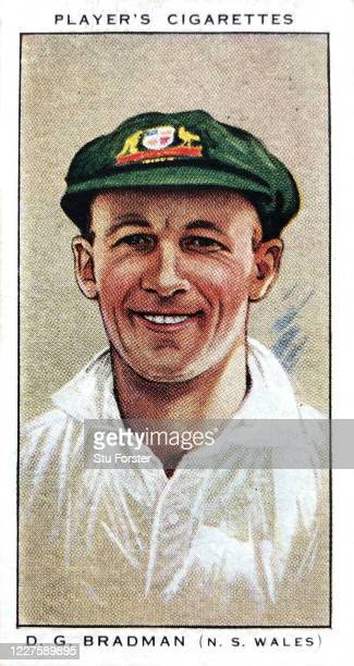 Donald Bradman of New South Wales and Australia illustrated on a Player's Cricket Cigarette Card from 1934.