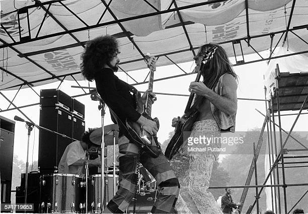 Donald Brewer and Mark Farner of Grand Funk Railroad perform on stage at Hyde Park, London, 3rd July 1971.