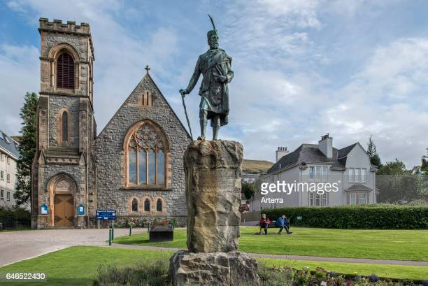 Donald Cameron of Lochiel statue in front of the Church of Scotland at Fort William Scottish Highlands Scotland UK