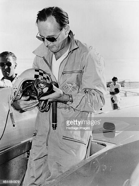 Donald Campbell at Bonneville Flats Utah 1960 Standing in the driver's seat of Bluebird He was attempting a record run at Utah when he crashed very...