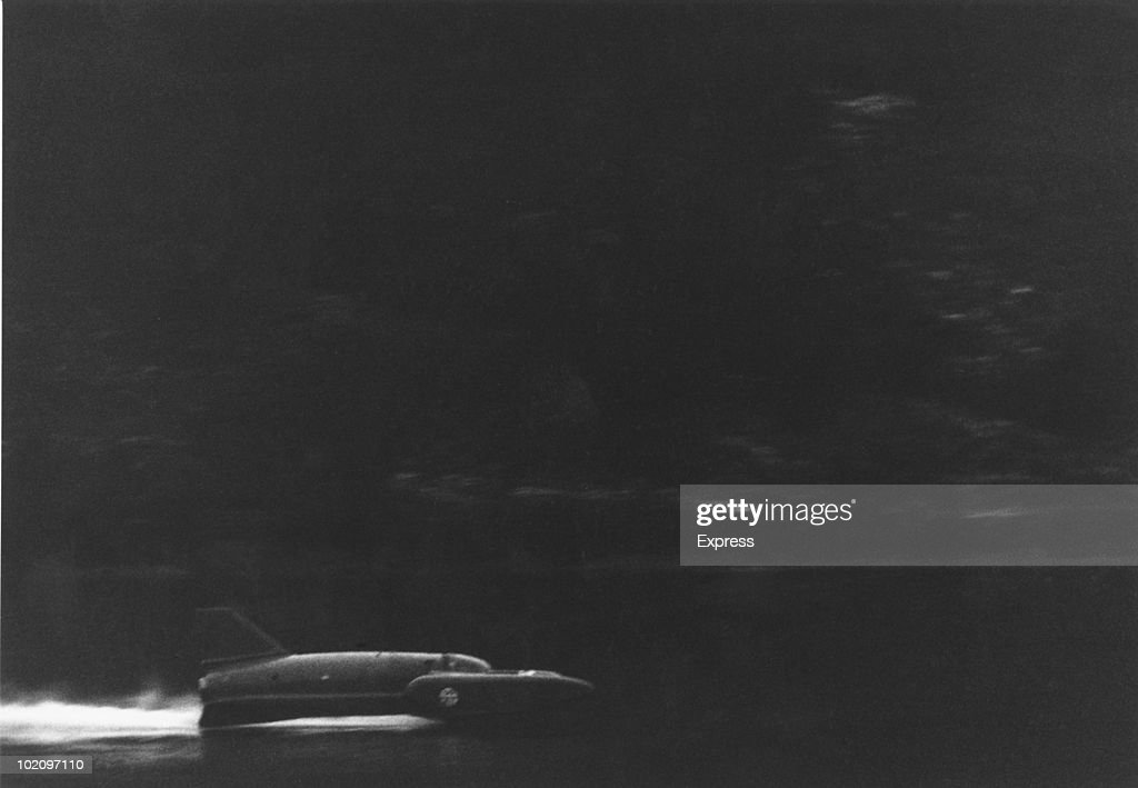 Donald Campbell (1921 - 1967) makes an attempt at the world water speed record on Coniston Water, Lancashire, in his 'Bluebird K7', 4th January 1967. Seconds later, the vehicle somersaulted over and crashed into the water, killing him.
