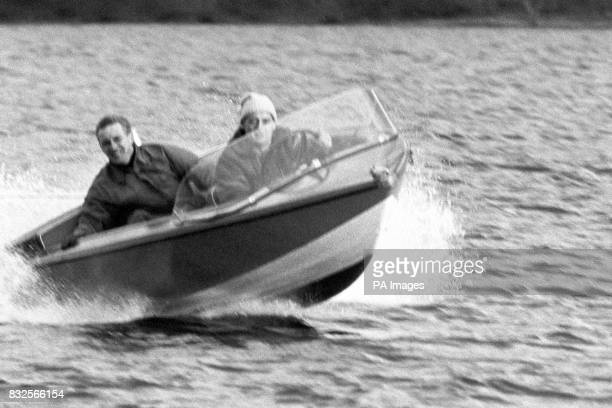 Donald Campbell surveys Coniston Water from his runabout Jetstar in preparation for his attempt on his own World Water Speed Record