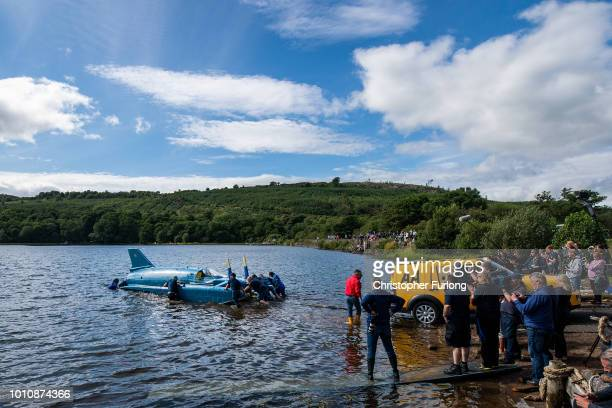 Donald Campbell's iconic Bluebird is floated on the waters of Loch Fad for the first time since the fatal crash in 1967 on August 4 2018 in Rothesay...