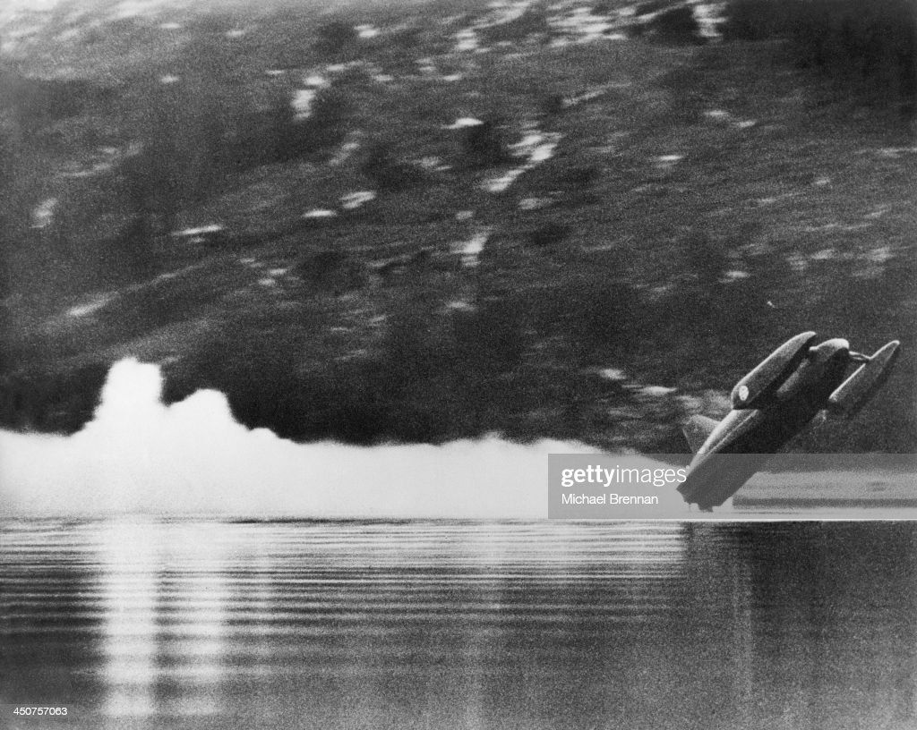 Donald Campbell's speed boat Bluebird K7 leaves the surface of Coniston Water in the Lake District, before crashing during an attempt on the world water speed record, 4th January 1967. Campbell was killed in the accident, which happened at more than 300mph on the return run of his record attempt.