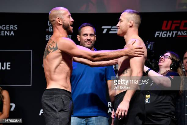 Donald Cerrone and Justin Gaethje face off during the UFC Fight Night weighin at Rogers Arena on September 13 2019 in Vancouver British Columbia...