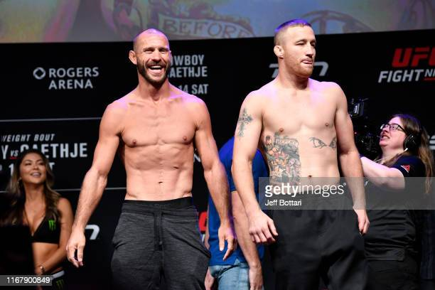 Donald Cerrone and Justin Gaethje look on during the UFC Fight Night weighin at Rogers Arena on September 13 2019 in Vancouver British Columbia Canada