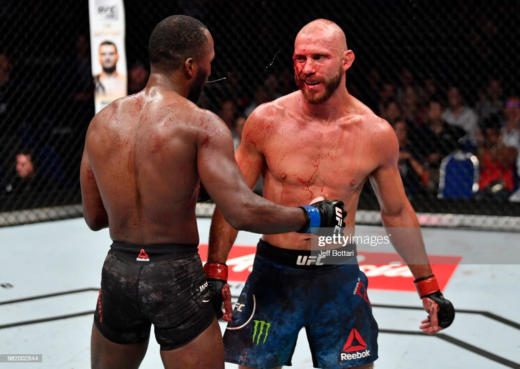 Donald Cerrone and Leon Edwards of Jamaica congratulate each other after the conclusion of their welterweight bout during the UFC Fight Night event at the Singapore Indoor Stadium on June 23, 2018 in Singapore.