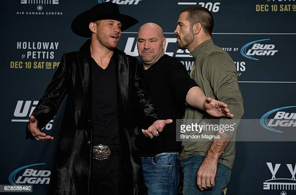 Donald Cerrone and Matt Brown face off during the UFC 206 Ultimate Media Day event inside the Westin Harbour Castle Hotel on December 8, 2016 in...