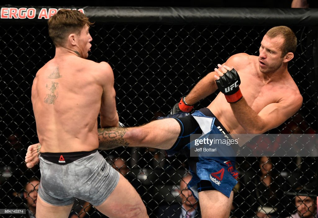 Donald Cerrone kicks Darren Till of England in their welterweight bout during the UFC Fight Night event inside Ergo Arena on October 21, 2017 in Gdansk, Poland.