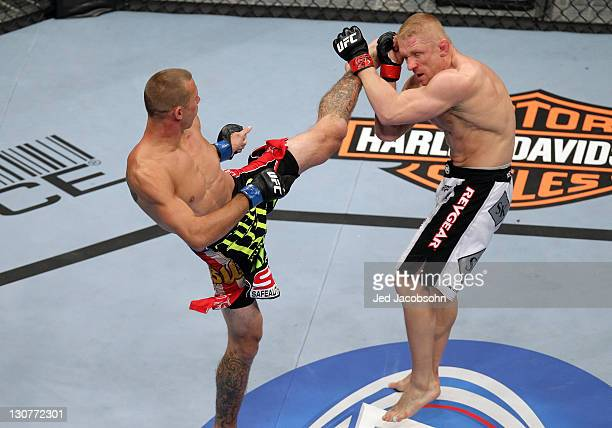 Donald Cerrone kicks Dennis Siver during the UFC 137 event at the Mandalay Bay Events Center on October 29, 2011 in Las Vegas, Nevada.