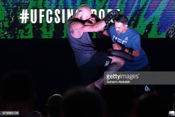 Donald Cerrone of the United States participates in the UFC Fight Night Open Workout at OCBC Square on June 20 2018 in Singapore