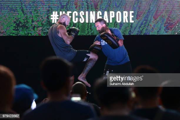 Donald Cerrone of United States participates in the UFC Fight Night Open Workout at OCBC Square on June 20 2018 in Singapore
