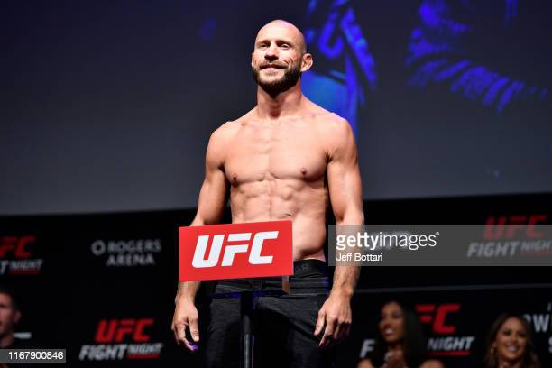 Donald Cerrone poses on the scale during the UFC Fight Night weighin at Rogers Arena on September 13 2019 in Vancouver British Columbia Canada