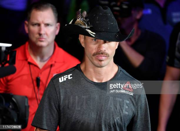 Donald Cerrone prepares to fight Justin Gaethje in their lightweight bout during the UFC Fight Night event at Rogers Arena on September 14 2019 in...