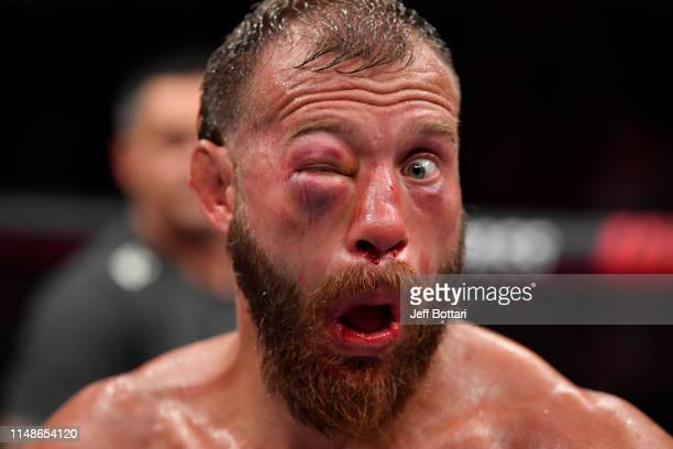 Donald Cerrone reacts after the conclusion of his lightweight bout against Tony Ferguson during the UFC 238 event at the United Center on June 8 2019...