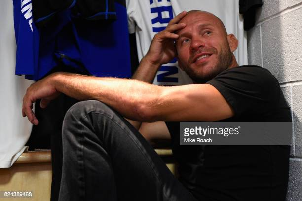 Donald Cerrone relaxes in his locker room prior to his bout against Robbie Lawler during the UFC 214 event at Honda Center on July 29 2017 in Anaheim...