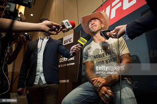Donald Cerrone speaks to the media during the UFC 202 Ultimate Media Day at the Red Rock Casino Resort on August 18, 2016 in Las Vegas, Nevada.