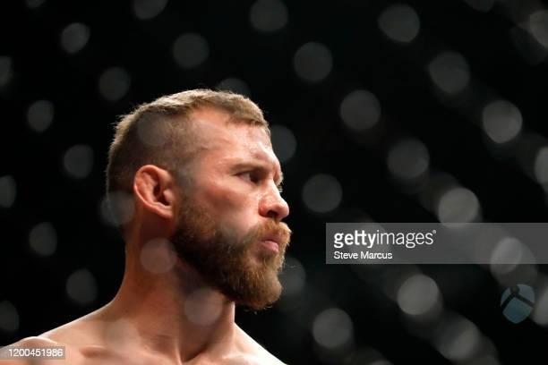 Donald Cerrone waits for the start of his welterweight bout against Conor McGregor during UFC246 at T-Mobile Arena on January 18, 2020 in Las Vegas,...