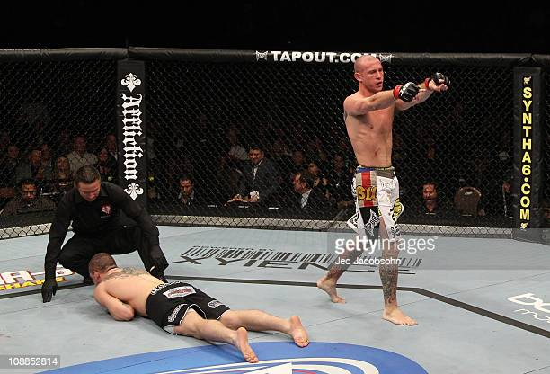 """Donald """"Cowboy"""" Cerrone celebrates his victory over Paul Kelly during their lightweight bout at UFC 126 at the Mandalay Bay Events Center on February..."""