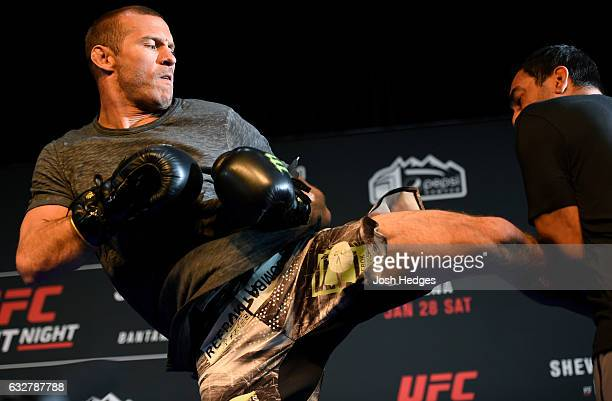 Donald 'Cowboy' Cerrone holds an open workout for fans and media at the EXDO Event Center on January 26 2017 in Denver Colorado