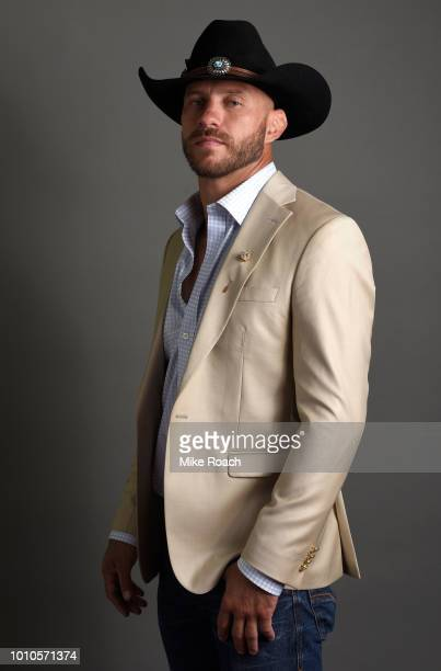 Donald 'Cowboy' Cerrone poses for a portrait backstage prior to during the UFC press conference inside the Orpheum Theater on August 3 2018 in Los...