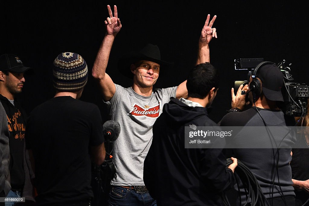 Donald 'Cowboy' Cerrone walks onstage during the UFC Fight Night Boston weigh-in event at the Orpheum Theatre on January 17, 2015 in Boston, Massachusetts.