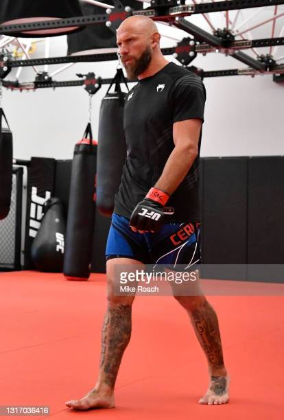 Donald 'Cowboy' Cerrone warms up prior to his fight in a heavyweight fight during the UFC Fight Night event at UFC APEX on May 08, 2021 in Las Vegas,...