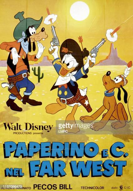 Donald Duck Goes West, poster, , from left: Goofy, Donald Duck, Pluto on Italian poster art, 1965.