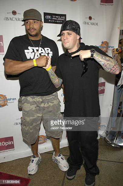 Donald Faison and Benji Madden of Good Charlotte during *NSYNC's Challenge for the Children VII Celebrity Bowling Arrivals at 10pin in Chicago...