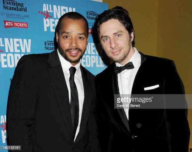 Donald Faison and Zach Braff attend an after party celebrating the press night performance of 'All New People' at St Martin's Lane Hotel on February...