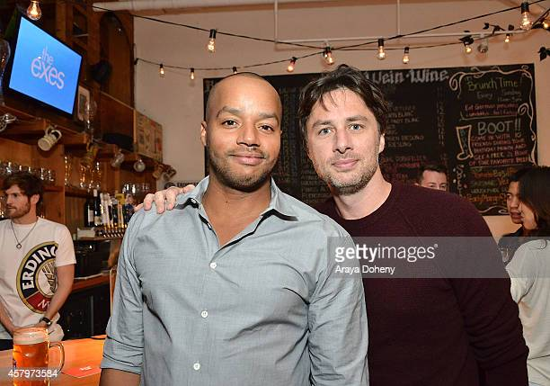 Donald Faison and Zach Braff attend The Exes Season 4 which premieres November 5 at 1030p ET/PT at Wirtshaus LA on October 27 2014 in Los Angeles...