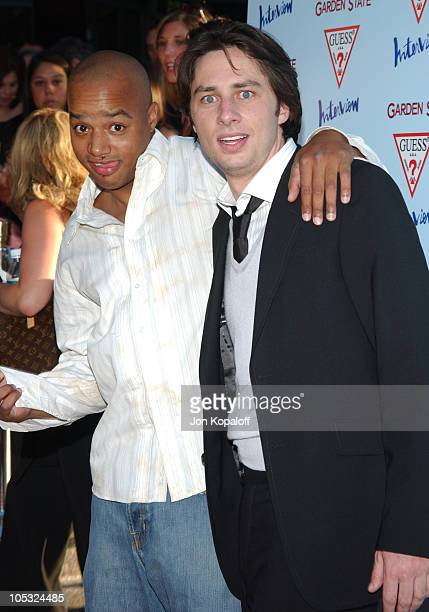 Donald Faison and Zach Braff during Garden State Los Angeles Premiere Arrivals at Directors Guild of America in Los Angeles California United States