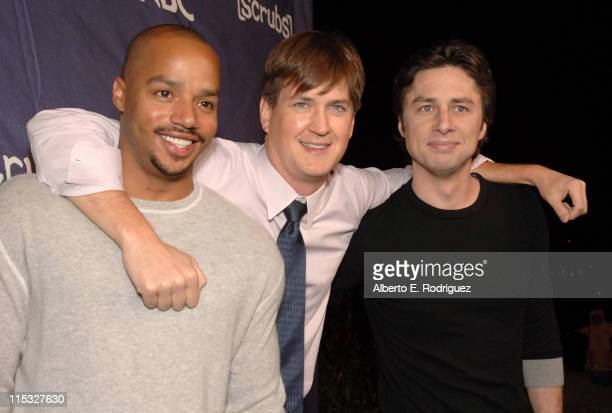 Donald Faison Bill Lawrence and Zach Braff during Esquire House and Johnnie Walker Blue Host Scrubs Season Six Celebration Red Carpet at Esquire...