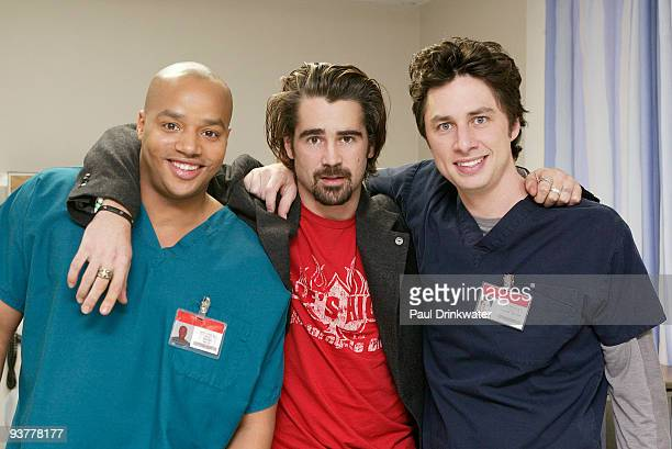 102136_2059 SCRUBS Donald Faison Colin Farrell and Zach Braff pose for a shot on the set of Scrubs during the episode entitled My Lucky Charm airing...