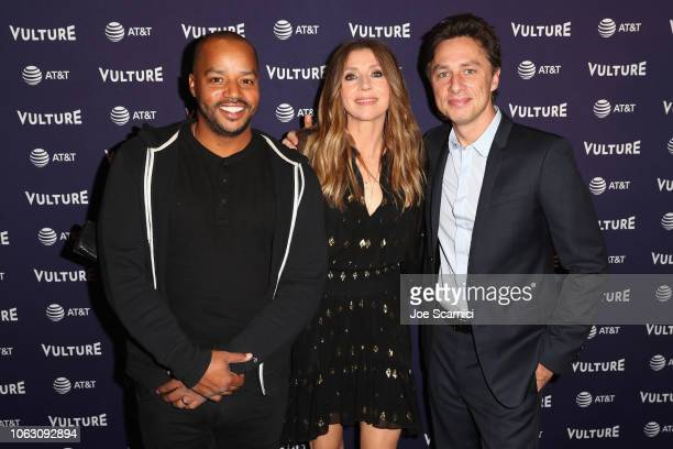 Donald Faison Sarah Chalke and Zach Braff attend the 'Scrubs Reunion' during Vulture Festival presented by ATT at Hollywood Roosevelt Hotel on...