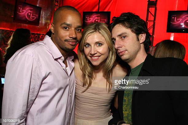 Donald Faison, Sarah Chalke and Zach Braff during Entertainment Weekly Magazine 4th Annual Pre-Emmy Party - Inside at Republic in Los Angeles,...