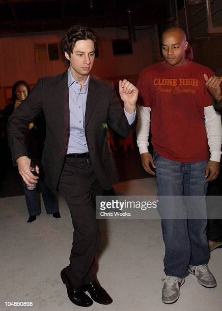 Donald Faison Zach Braff during Ciroc Vodka Hosts NBC's Scrubs WrapParty on 2/26/03 at Quixote Studios in West Hollywood California United States