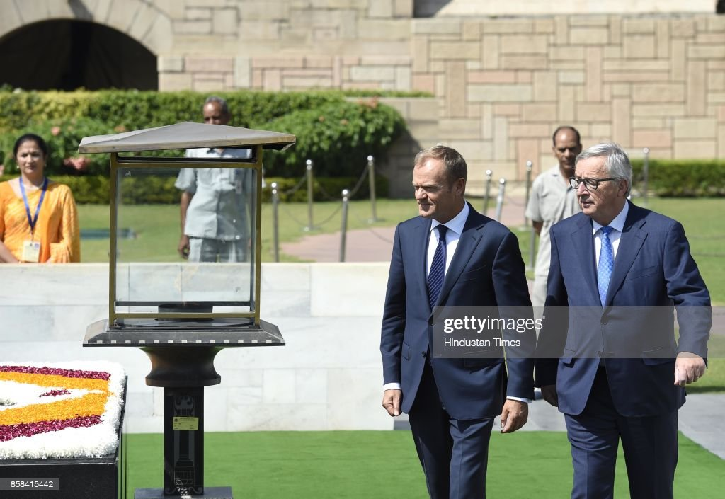 Donald Franciszek Tusk, President of the European Council, & Jean-Claude Juncker, President of the European Commission to India, lay the wreath at Memorial of Mahatma Gandhi at Rajghat on October 6, 2017 in New Delhi, India.