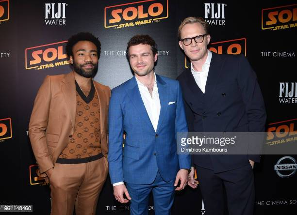 Donald Glover Alden Ehrenreich and Paul Bettany attend a screening of 'Solo A Star Wars Story' hosted by The Cinema Society with Nissan FIJI Water at...