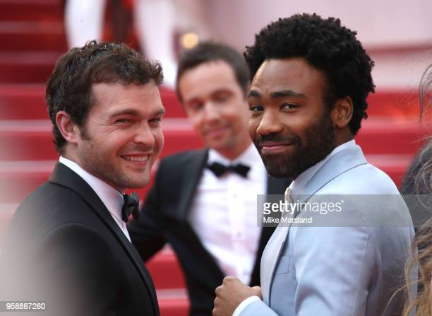 Donald Glover and Alden Ehrenreich attend the screening of 'Solo A Star Wars Story' during the 71st annual Cannes Film Festival at Palais des...