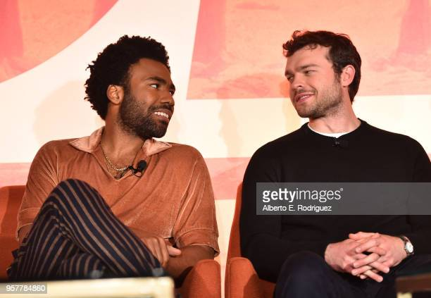 Donald Glover and Alden Ehrenreich participate in a press conference in Los Angeles on May 12 2018 for 'Solo A Star Wars Story' which opens in US...