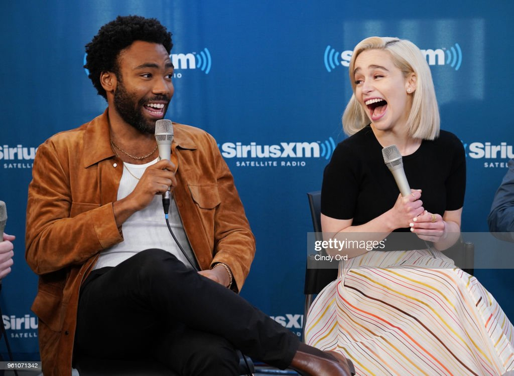 Donald Glover and Emilia Clarke take part in SiriusXM's Town Hall with the cast of Solo: A Star Wars Story hosted by SiriusXM's Dalton Ross at SiriusXM Studios on May 21, 2018 in New York City.