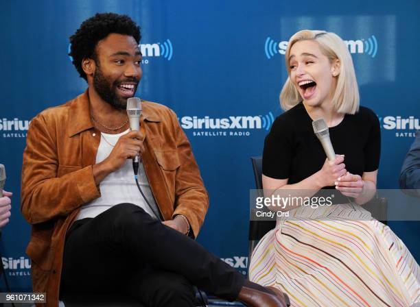 Donald Glover and Emilia Clarke take part in SiriusXM's Town Hall with the cast of Solo A Star Wars Story hosted by SiriusXM's Dalton Ross at...