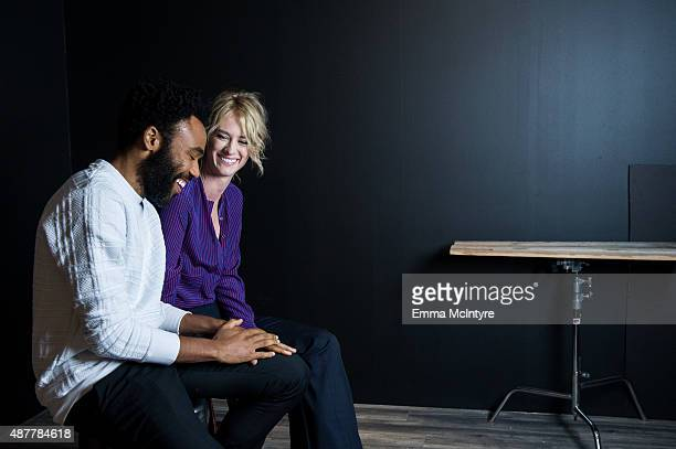 Donald Glover and Mackenzie Davis of 'The Martian' pose for a portrait with Jeff Vespa in the Guess Portrait Studio at the Toronto International Film...