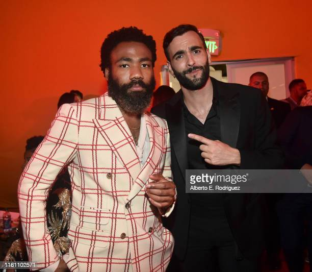 "Donald Glover and Marco Mengoni attend the World Premiere of Disney's ""THE LION KING"" at the Dolby Theatre on July 09, 2019 in Hollywood, California."