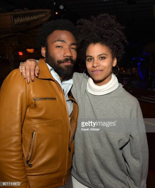 Donald Glover and Zazie Beetz attend the after party for the premiere of FX's 'Atlanta Robbin' Season' at The Theatre at Ace Hotel on February 19...