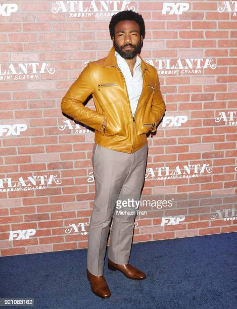 Donald Glover arrives at FX's 'Atlanta Robbin' Season' Los Angeles premiere held at Ace Theater Downtown LA on February 19 2018 in Los Angeles...