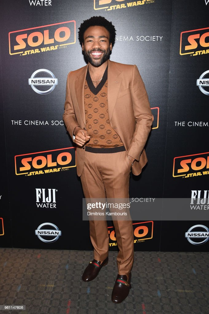 Donald Glover attends a screening of 'Solo: A Star Wars Story' hosted by The Cinema Society with Nissan & FIJI Water at SVA Theater on May 21, 2018 in New York City.