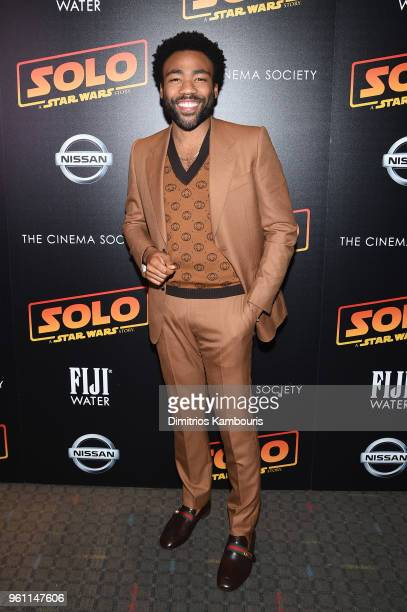 Donald Glover attends a screening of Solo A Star Wars Story hosted by The Cinema Society with Nissan FIJI Water at SVA Theater on May 21 2018 in New...